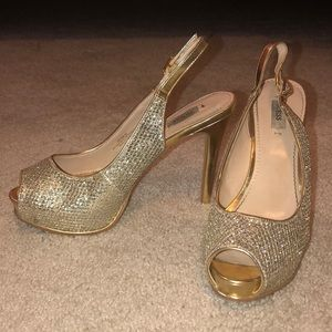 Guess Gold Sparkle Heels